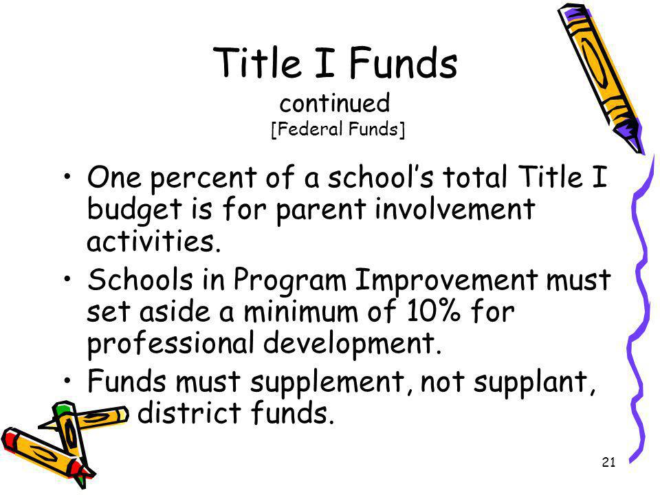 Title I Funds continued [Federal Funds]